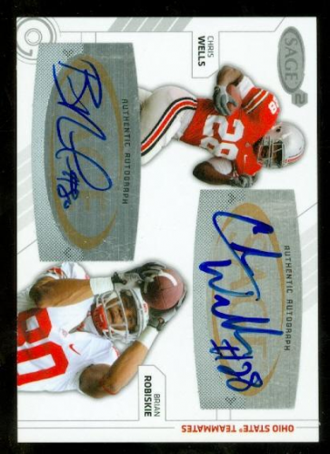 2009 SAGE Squared Dual Autographs #6 Chris Wells/Brian Robiskie