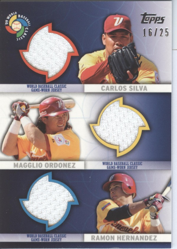 2009 Topps Update WBC Stitches Triple #SOH Carlos Silva/Magglio Ordonez/Ramon Hernandez