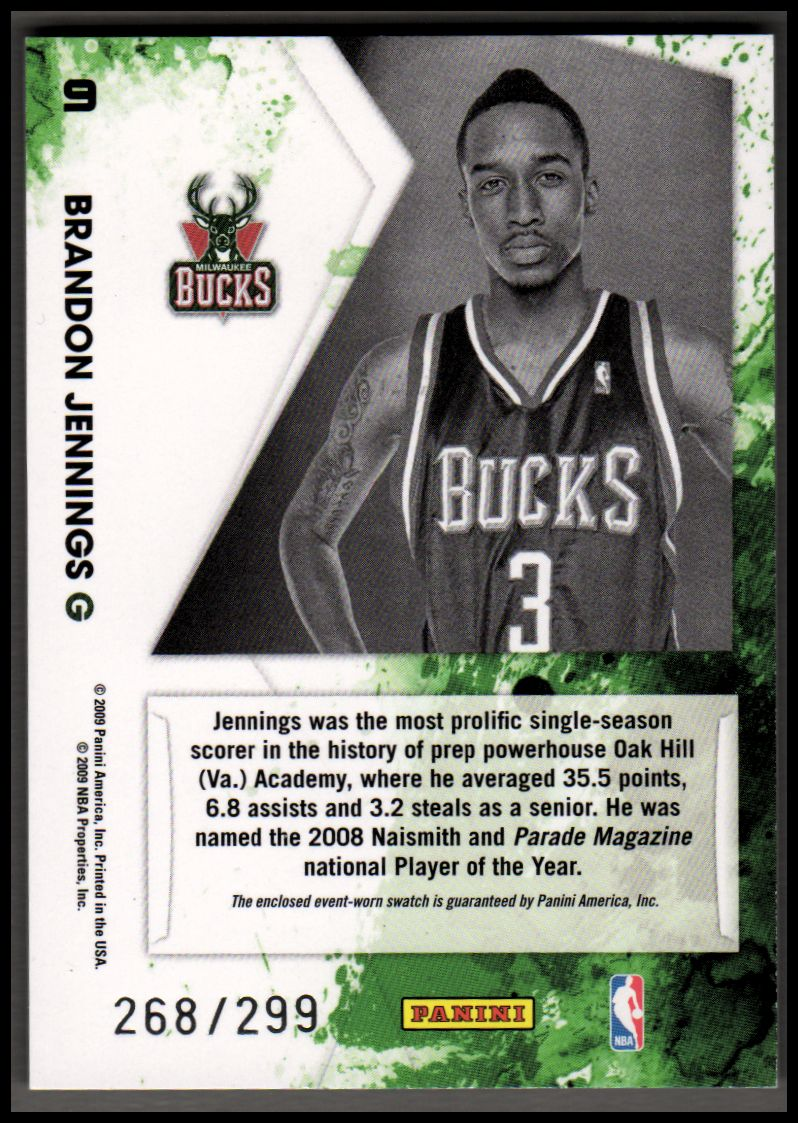 2009-10 Rookies and Stars Freshman Orientation Materials #9 Brandon Jennings back image