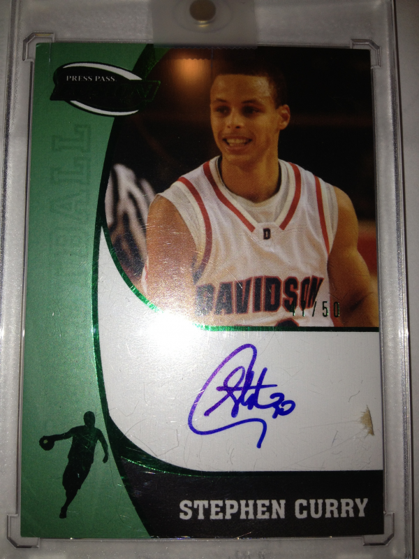 2009 Press Pass Fusion Autographs Green #SSSC Stephen Curry/50