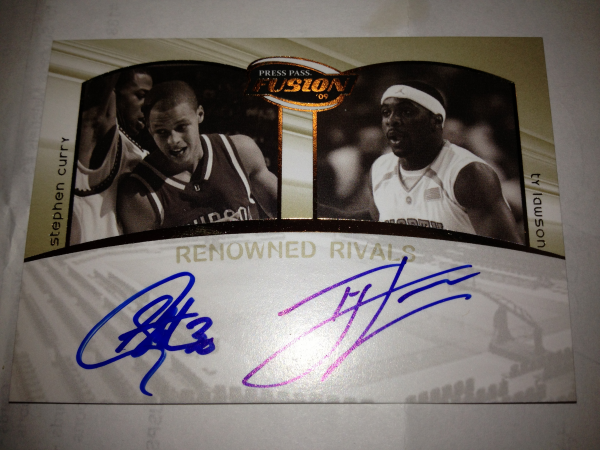 2009 Press Pass Fusion Renowned Rivals Autographs Gold #RRSCTL Stephen Curry/Ty Lawson/50
