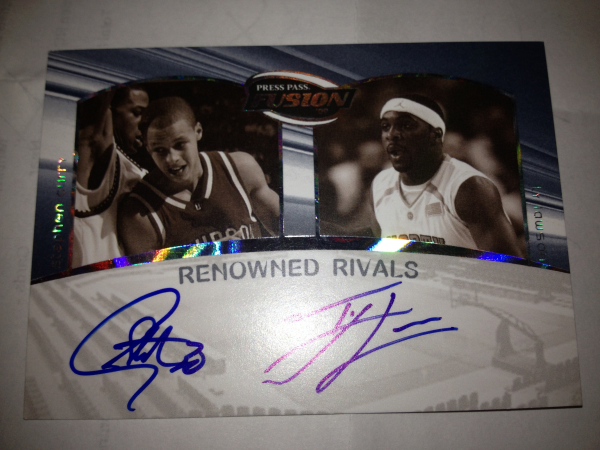 2009 Press Pass Fusion Renowned Rivals Autographs Onyx #RRSCTL Stephen Curry/Ty Lawson/25