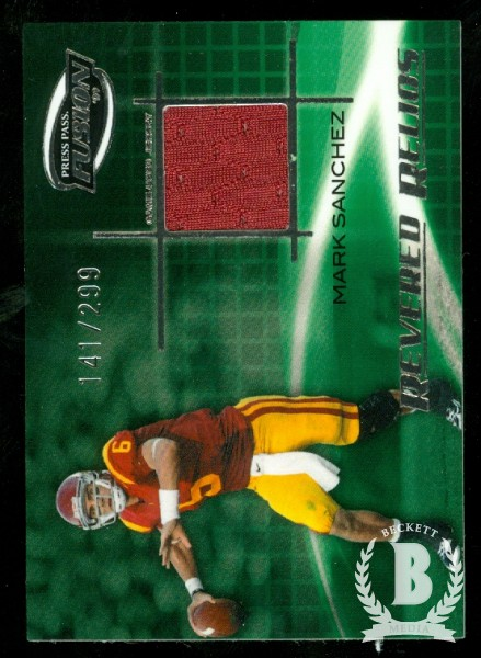 2009 Press Pass Fusion Revered Relics Silver #RRMS Mark Sanchez/299