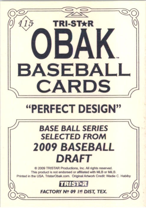 2009 TRISTAR Obak #115b Stephen Strasburg/1910 Superbass Back variation/Diamond around number back image
