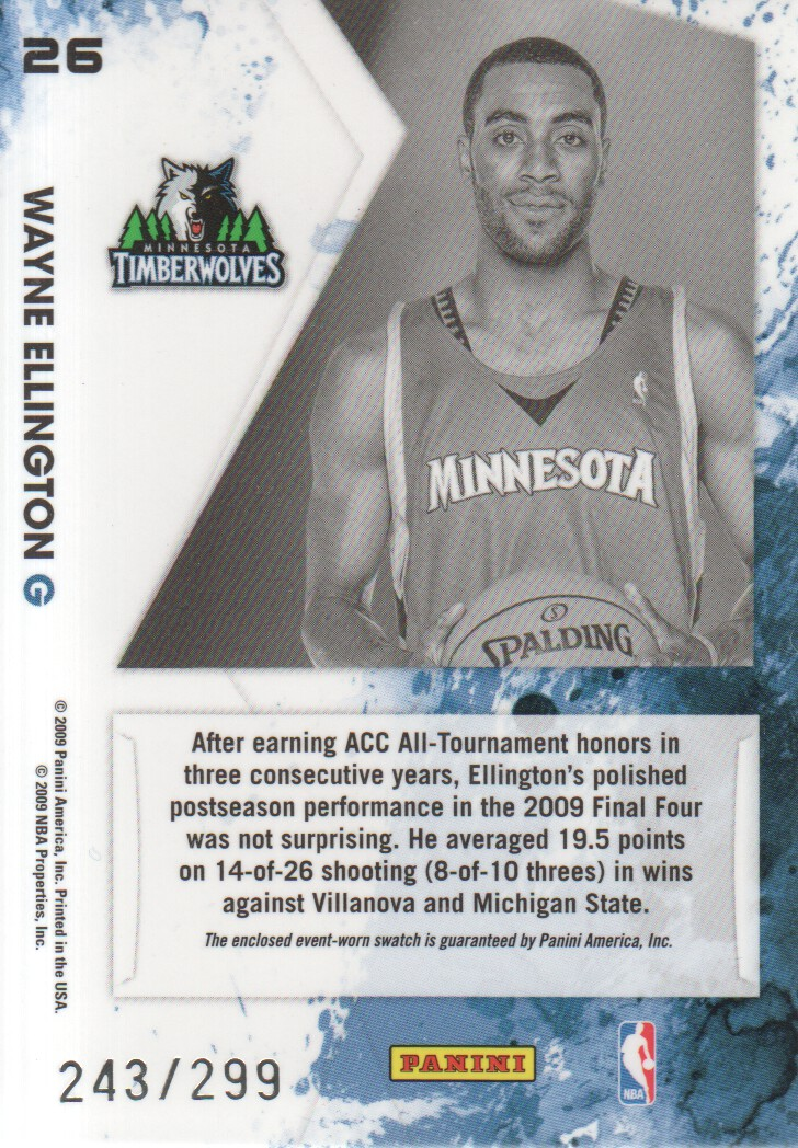 2009-10 Rookies and Stars Longevity Freshman Orientation Materials Jerseys #26 Wayne Ellington back image
