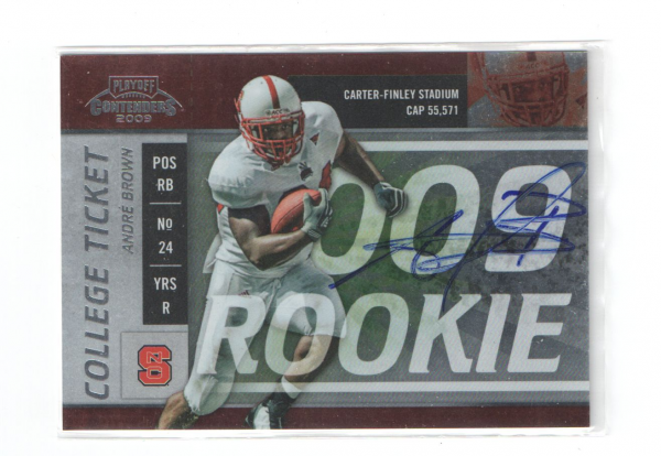 2009 Playoff Contenders College Rookie Ticket Autographs #8 Andre Brown/64*