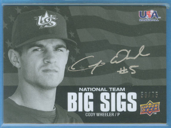 2009-10 USA Baseball National Team Big Sigs #CW Cody Wheeler