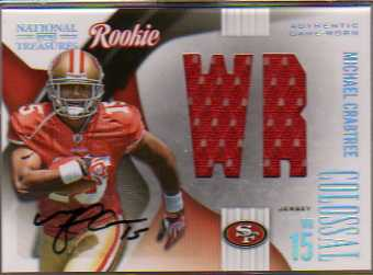 2009 Playoff National Treasures Rookie Colossal Materials Signatures Position #13 Michael Crabtree