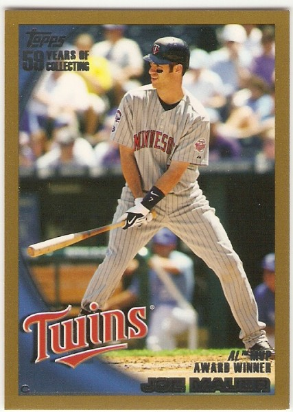 2010 Topps Gold Border #172 Joe Mauer AL MVP