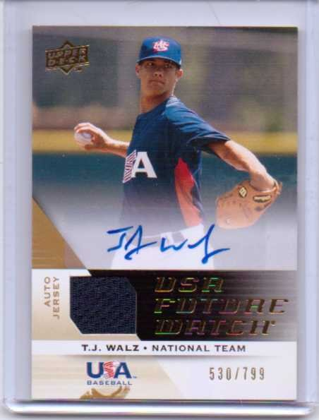2009 Upper Deck Signature Stars USA National Team Future Watch Jersey Autographs #11 T.J. Walz/799