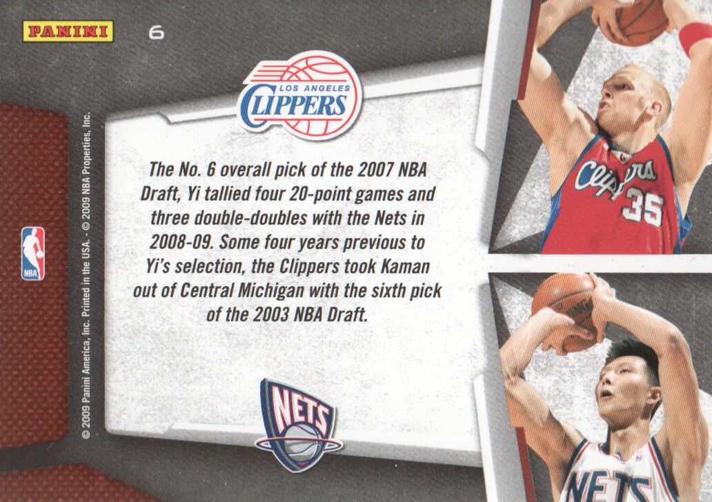2009-10 Playoff Contenders Draft Tandems #6 Chris Kaman/Yi Jianlian back image