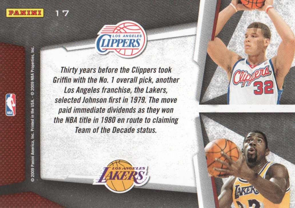 2009-10 Playoff Contenders Draft Tandems #17 Blake Griffin/Magic Johnson back image