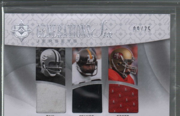 2009 Ultimate Collection Ultimate Generations Six Jerseys #2 Adrian Peterson/Emmitt Smith/Franco Harris/Knowshon Moreno/Paul Hornung/Roger Craig