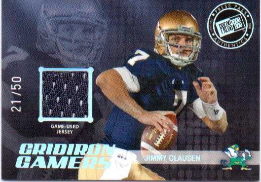 2010 Press Pass Gridiron Gamers Jerseys Holofoil #GGJC Jimmy Clausen