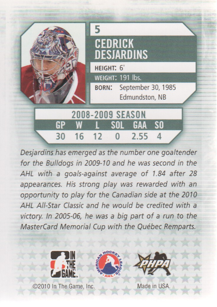 2009-10 Between The Pipes #5 Cedrick Desjardins back image