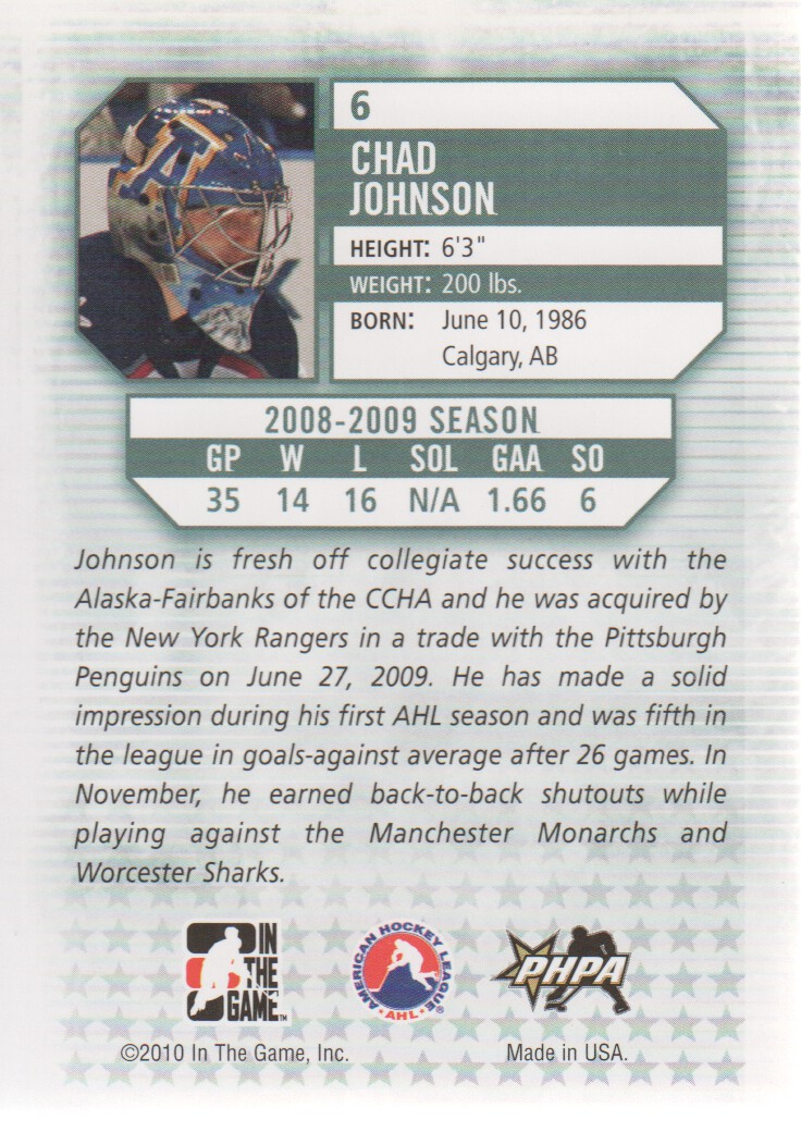 2009-10 Between The Pipes #6 Chad Johnson back image