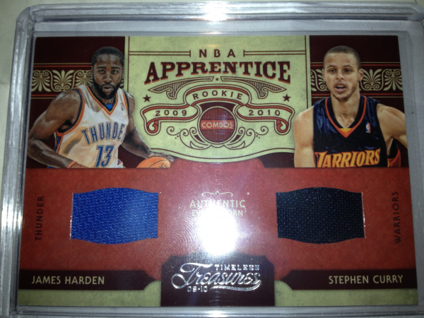 2009-10 Timeless Treasures NBA Apprentice Combo Materials #14 James Harden/Stephen Curry
