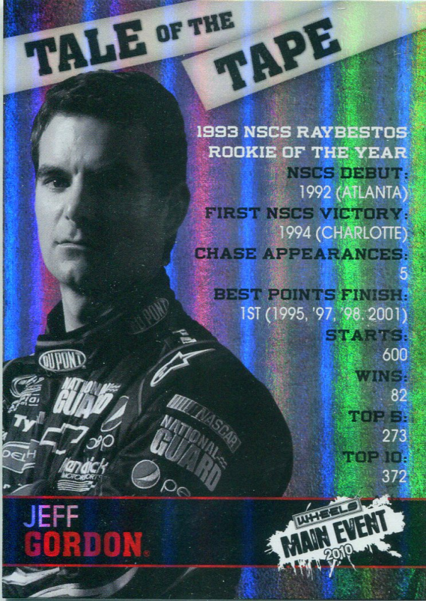 2010 Wheels Main Event Tale of the Tape #TT9 Jeff Gordon
