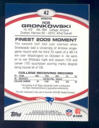 2010 Finest Rookie Patch Autographs Black Refractors #42 Rob Gronkowski back image