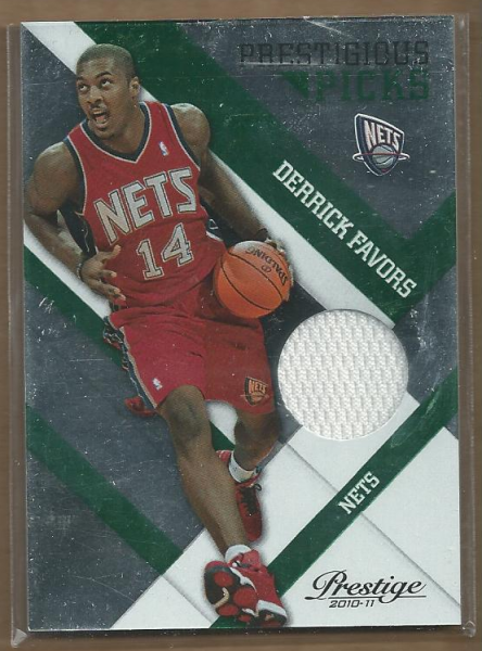 2010-11 Prestige Prestigious Picks Materials Green #3 Derrick Favors