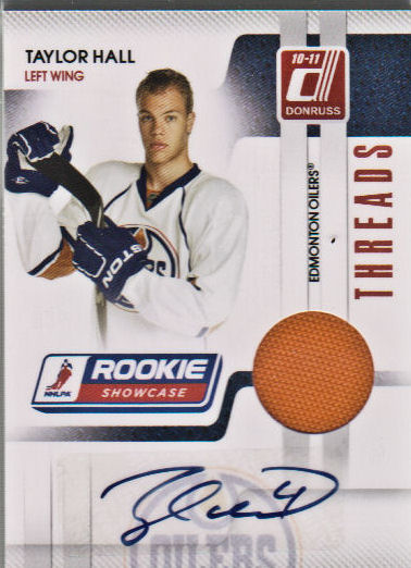 2010-11 Donruss Rookie Showcase Threads Autographs #TH Taylor Hall