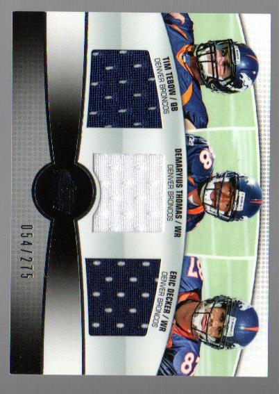 2010 Topps Prime 3rd Quarter Relics #TTD Tim Tebow/275/Demaryius Thomas/Eric Decker