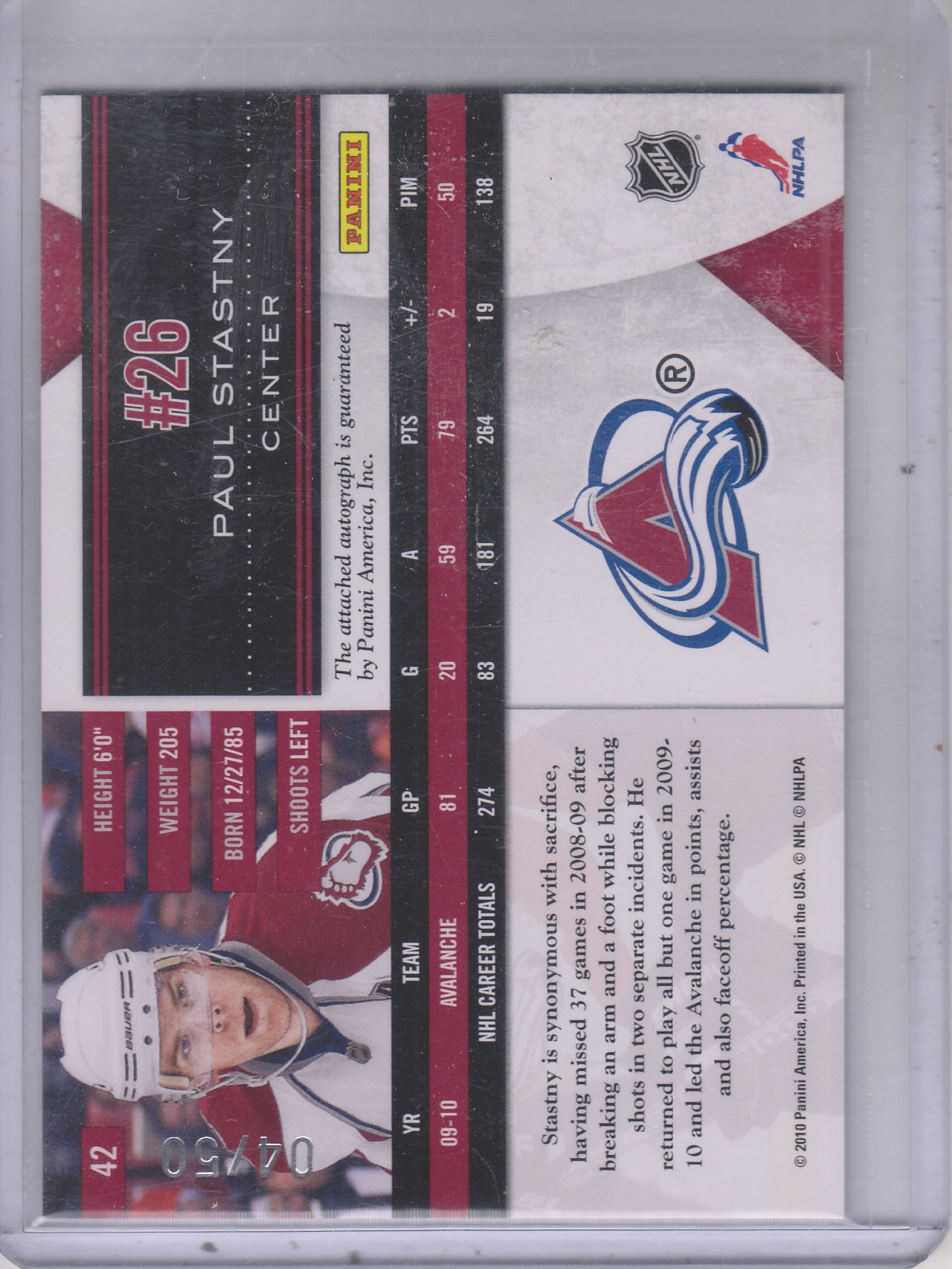 2010-11 Limited Monikers Gold #42 Paul Stastny back image