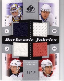 2010-11 SP Game Used Authentic Fabrics Quads #AF4USA Ryan Miller/Phil Kessel/Patrick Kane/Zach Parise