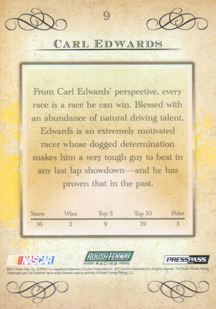 2011 Press Pass Eclipse #9 Carl Edwards back image