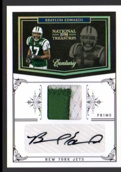 2010 Playoff National Treasures Century Material Signature Prime #101 Braylon Edwards/20