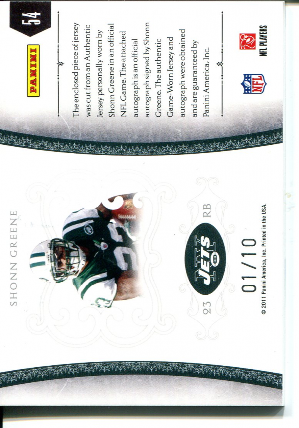 2010 Playoff National Treasures Colossal Materials Signature #54 Shonn Greene/10 back image