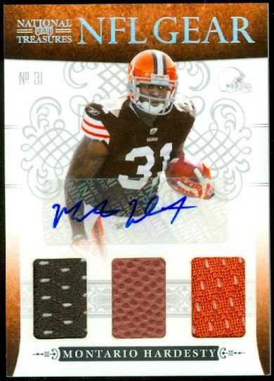 2010 Playoff National Treasures NFL Gear Triple Signatures #16 Montario Hardesty