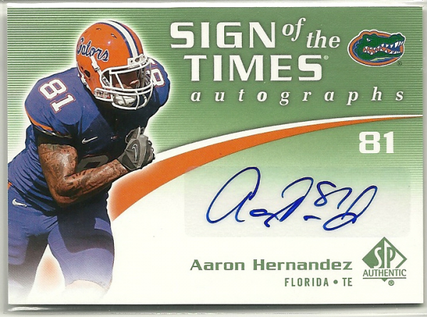 2010 SP Authentic Sign of the Times #AH Aaron Hernandez