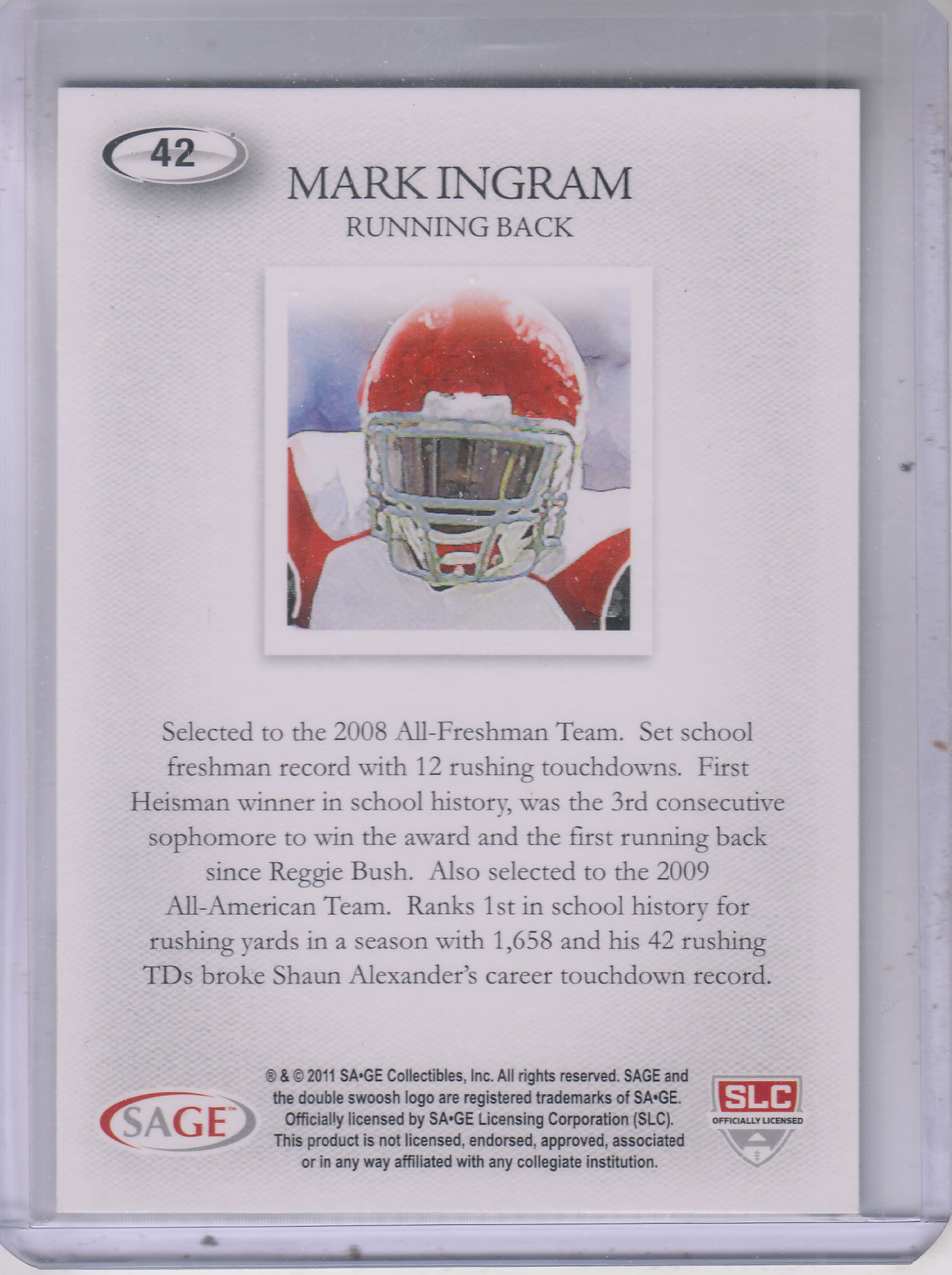 2011 SAGE HIT Gold #42 Mark Ingram Art back image