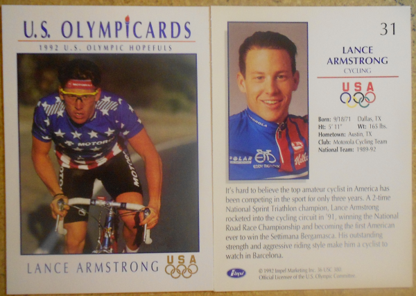 1992 Impel U.S. Olympic Hopefuls #31 Lance Armstrong/Cycling