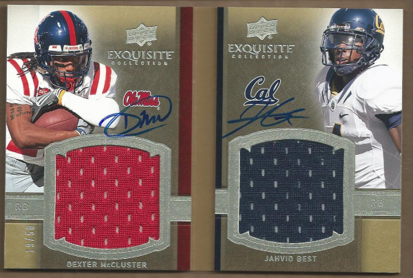 2010 Exquisite Collection Rookie Bookmark Patch Autographs #DJ Dexter McCluster/50/Jahvid Best