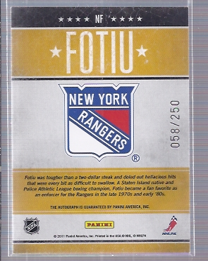 2010-11 Pinnacle Tough Times Autographs #NF Nick Fotiu back image