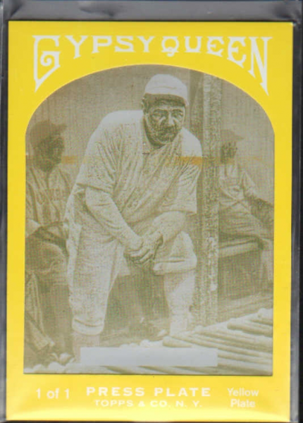 2011 Topps Gypsy Queen Framed Printing Plate Yellow #65 Babe Ruth