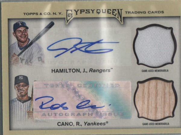 2011 Topps Gypsy Queen Dual Relic Autographs #HC Josh Hamilton/Robinson Cano
