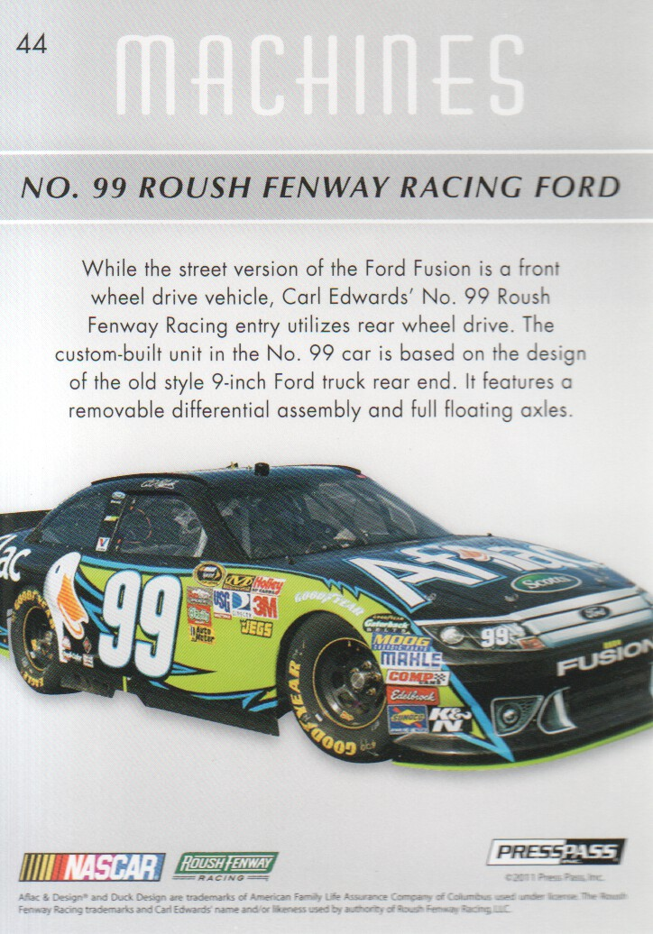 2011 Press Pass Premium #44 Carl Edwards' Car M back image