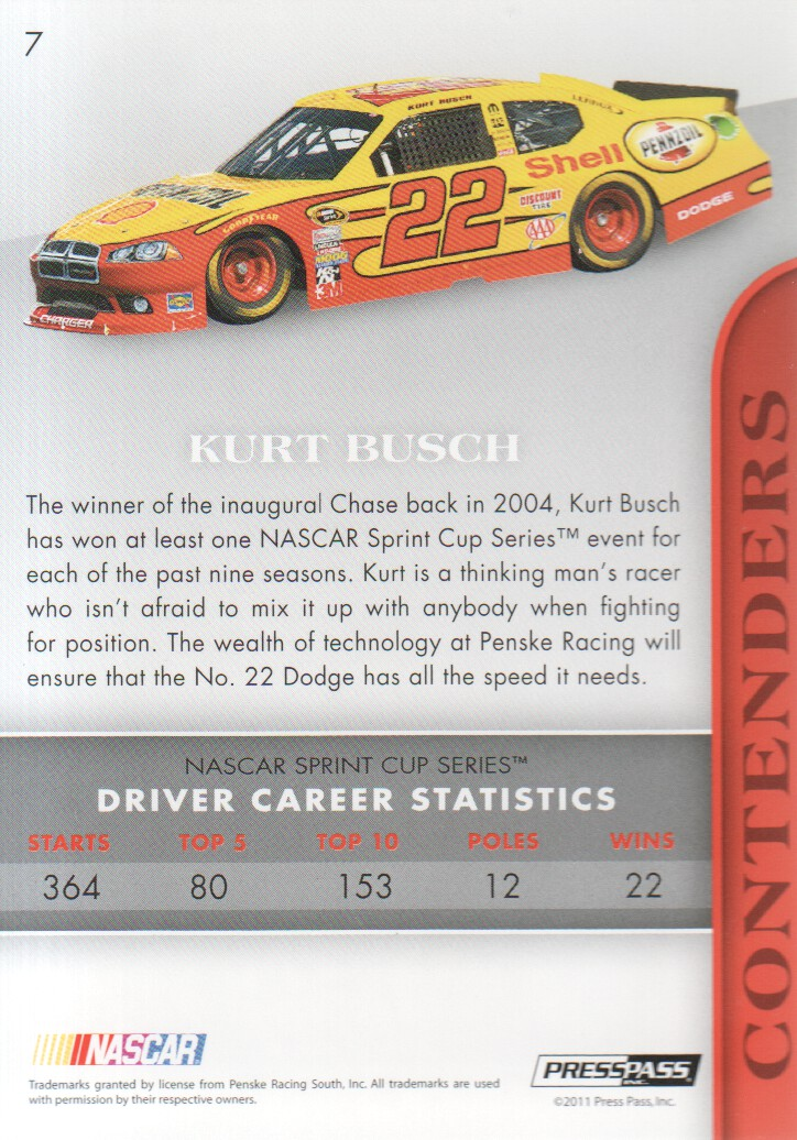 2011 Press Pass Premium #7A Kurt Busch back image