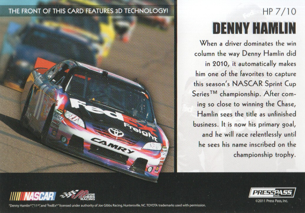 2011 Press Pass Premium Hot Pursuit 3D #HP7 Denny Hamlin back image