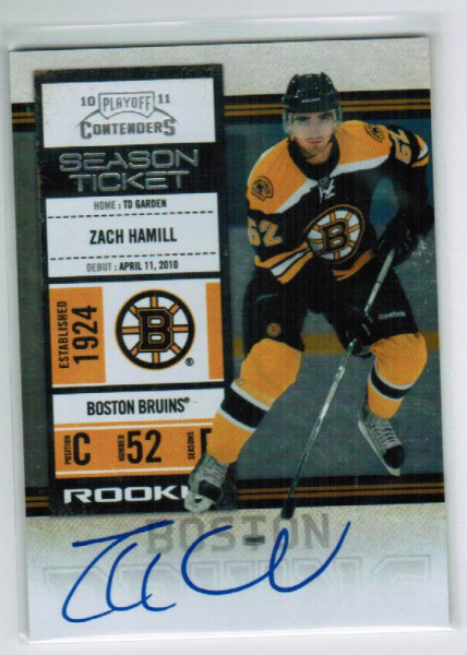 2010-11 Playoff Contenders #121 Zach Hamill AU RC