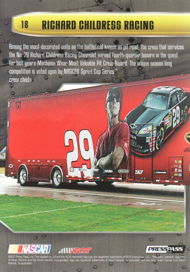 2011 Press Pass Stealth #18 Kevin Harvick's Crew back image