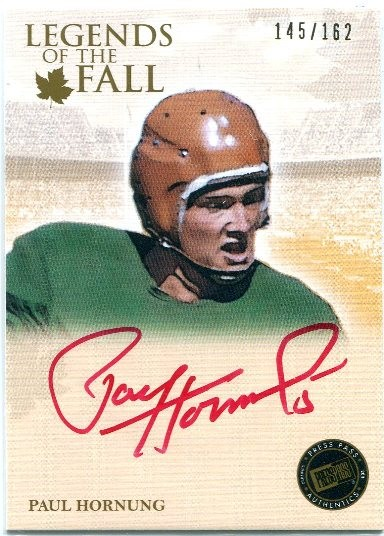 2011 Press Pass Legends Legends of the Fall Autographs Red Ink #LOFPH Paul Hornung/87*