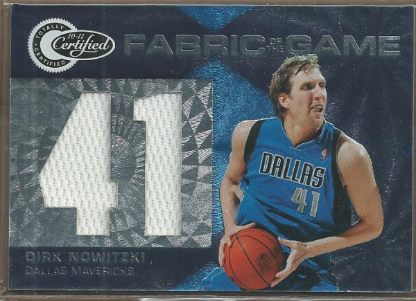 2010-11 Totally Certified Fabric of the Game Jumbo Jersey Number #2 Dirk Nowitzki/299