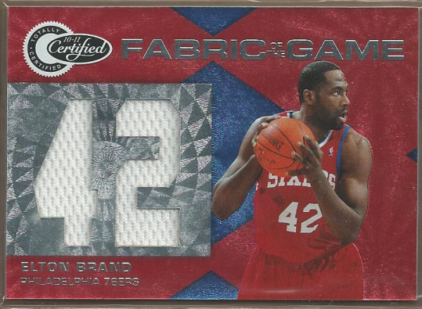 2010-11 Totally Certified Fabric of the Game Jumbo Jersey Number #7 Elton Brand/299