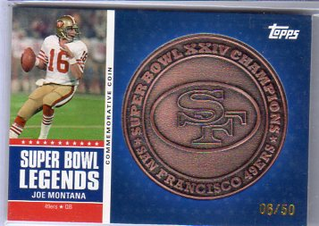 2011 Topps Super Bowl Legends Coins Bronze #SBLCXXIV Joe Montana