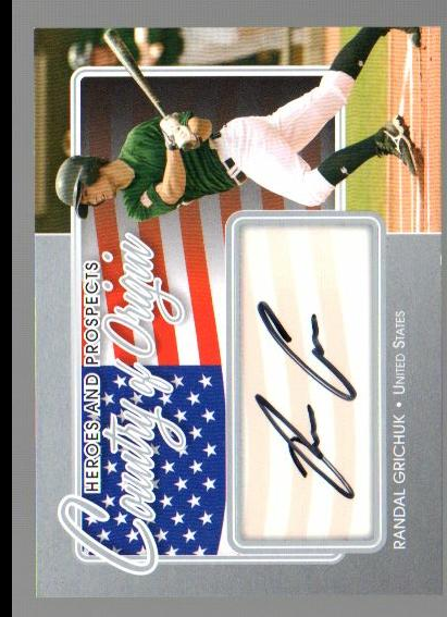 2011 ITG Heroes and Prospects Country of Origin Autographs Silver #RC Randal Grichuk S2