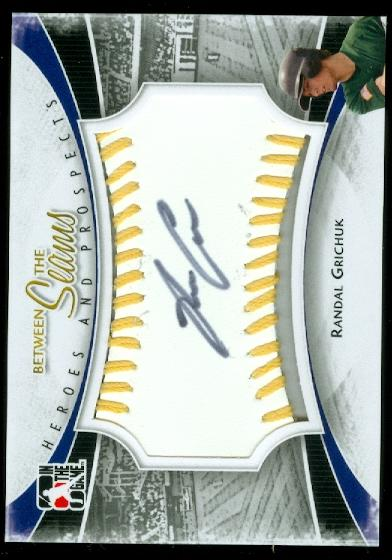 2011 ITG Heroes and Prospects Between the Seams Autographs Gold #RG Randal Grichuk S2